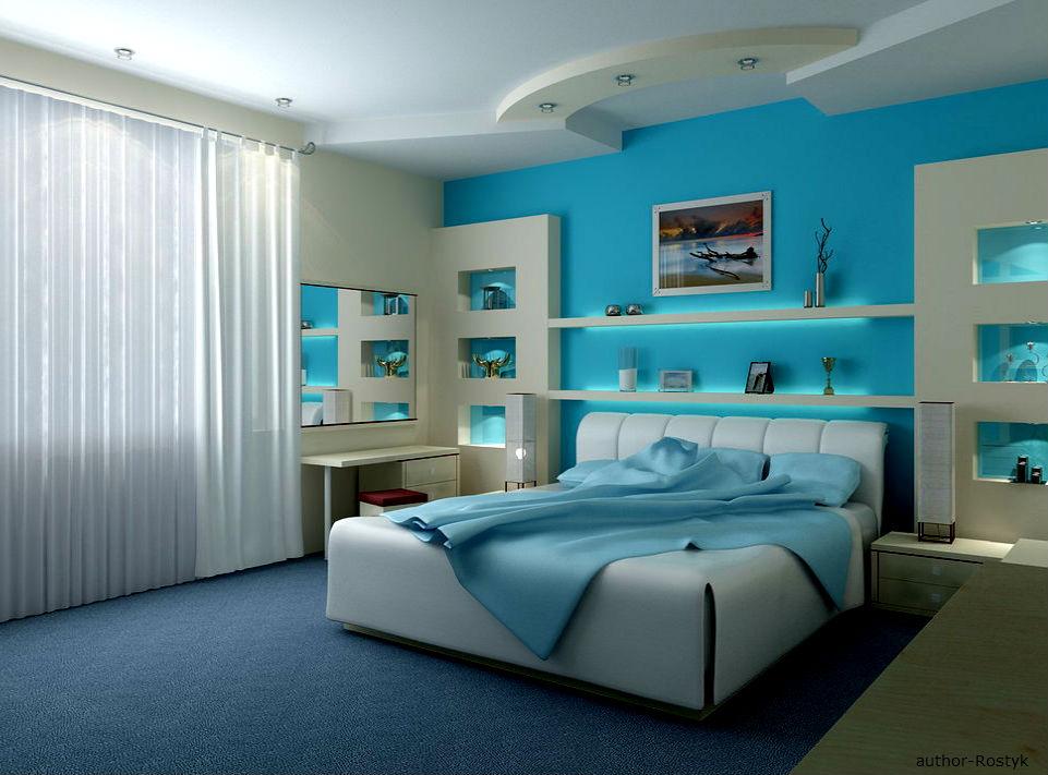 Дизайн спальни в голубом